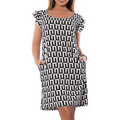 New Geometric Print Women Dress Summer Big Size Ruffles Femme Dresses Large