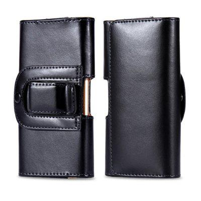 5.7 Inch Waist Bag Horizontal Belt Clip Holster Smooth Leather Phone Pouch Case