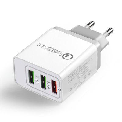 Cwxuan 18W 3 USB Ports QC 3.0 Power EU Plug Quick Adapter Charge