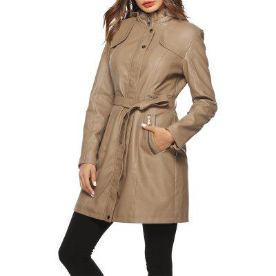 Fashionable Thickening Leather Medium Long Coat with Detachable Cap