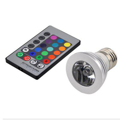 LED RGB Spotlight E27 3W que cambia de color el mando a distancia de la lámpara para barra