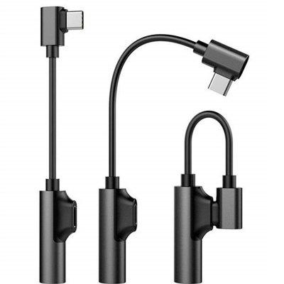 90 graden 2 in 1Type-C naar opladen en 3,5 mm audio Aux-in jack-adapterkabel