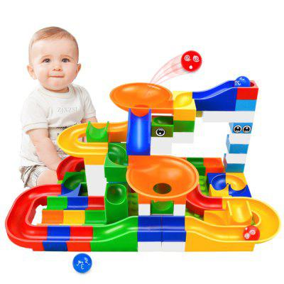 DIY Marble Race Run Maze Ball ABS Funnel Slide Track Building Blocks Toy 52Pcs