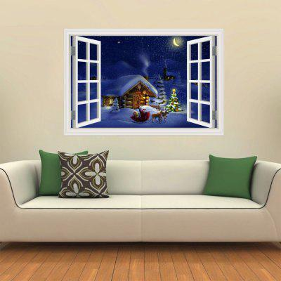 3D Wall Sticker Creative White Window Christmas