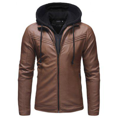 Men's Pleated Design Casual Slim Zip Hooded Leather Jacket Leather