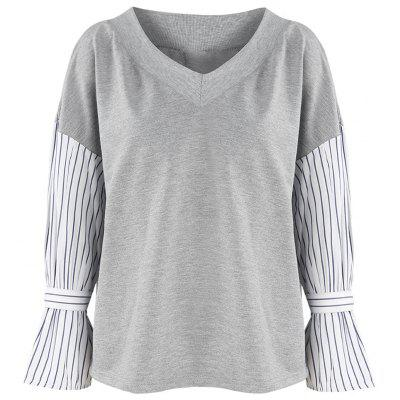 HAODUOYI Women'S V-Neck Strapless Striped Long-Sleeved Top Gray