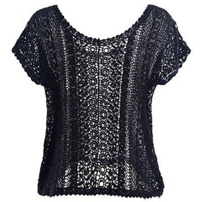 HAODUOYI Women'S Embroidery Frill Sleeve Cutwork Lace Shirt Black