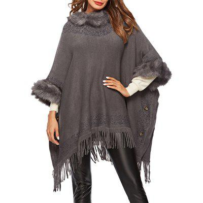 Knitted Wool Collar Printing Sweater Loose Shawl with Tassel