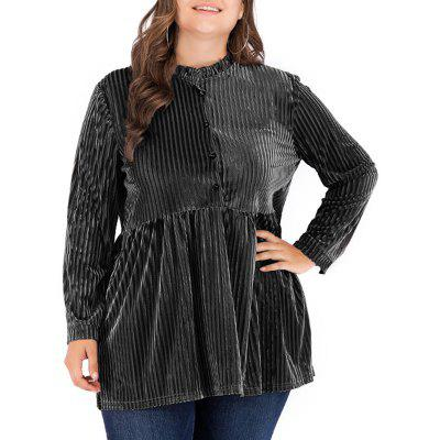 Solid Color Hollow Out Elestic Blouse
