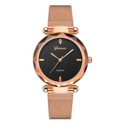 GENEVA Women Simple and Fashionable Stainless Steel   Quartz Watch