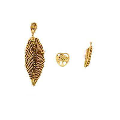 Golden Tree of Life   Leaf Feather 3-PIECE Earring Female