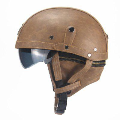 Motorcycle Rider Half Open Face PU Leather Helmet Visor With Collar Leather