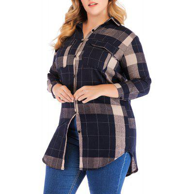 Large Size Women's Cotton Long-Sleeved Plaid Long Casual Shirt