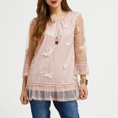 SBETRO Sheer Female Shirt Pink Embroidered Mesh Lace Sheer Crewneck 3/4 Sleeve