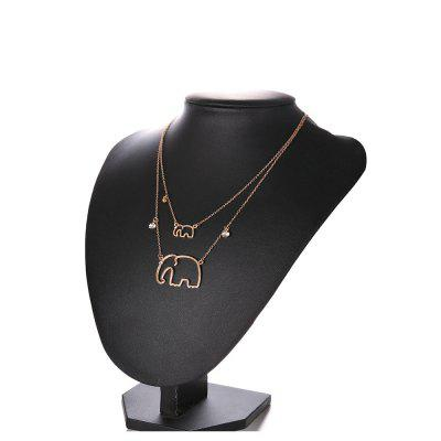 Fashionable Personality Retro Gold Double Elephant Connected Women'S Necklace