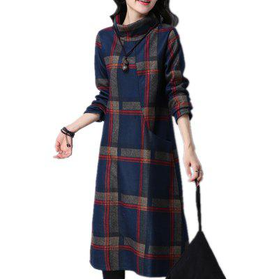 Vestido das mulheres manga comprida Turtle Neck Checkered Pattern Loose Dress