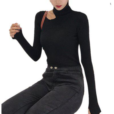 Women's Sweater Long Sleeve Turtle Neck Solid Color Fashion Knitwear
