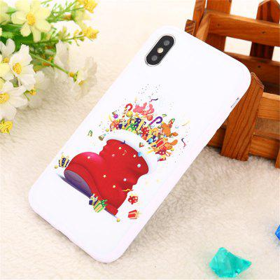 For iphone X/XS TPU+PC red Back Cover White socks Christmas Phone Case
