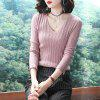 Fashion Long-Sleeved Hollow Solid Color Sweater - PINK ROSE