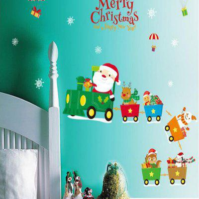 Christmas Train New Year'S Day Children Room Bedside Window Decorates A Wall Win