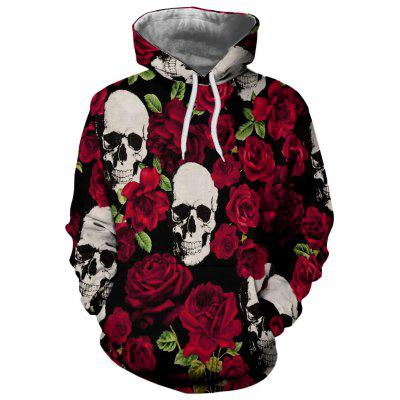 Men and Women New Flowers Casual Fashion Skull 3D Printing Hoodie