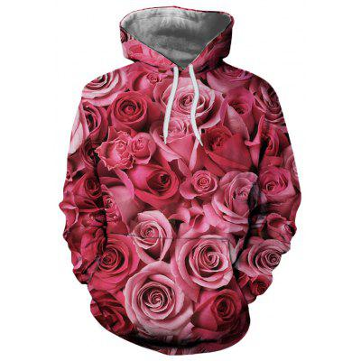 Men and Women New Casual Fashion Red Rose 3D Printed Hoodie
