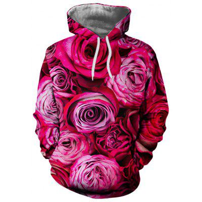 Men and Women New Casual Fashion Red Peony 3D Printing Hoodie