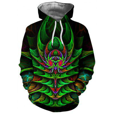New Fashion Men'S 3D Printed Green and Green Hooded Hoodie