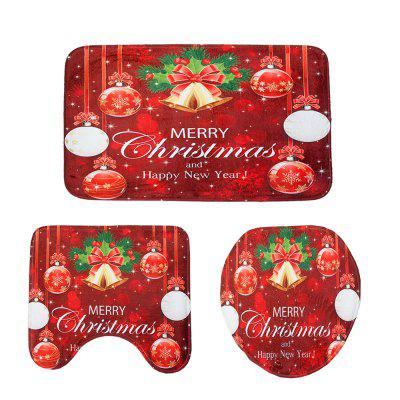 New Red Christmas Toilet Mat Three-Piece