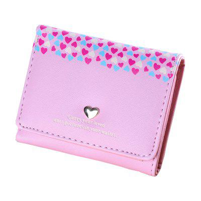 Student Wallet Printed Heart-Shaped Short Wallet Card Holder Ladies Wallet