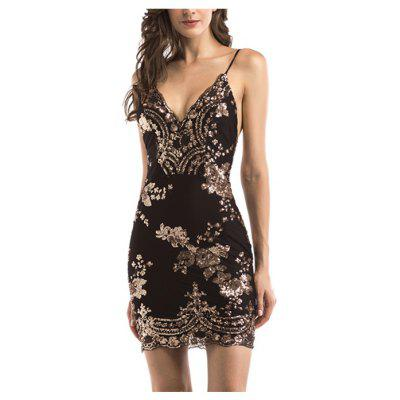 Sling Sequins Dress Women Bodycon Sexy Sleeveless Backless