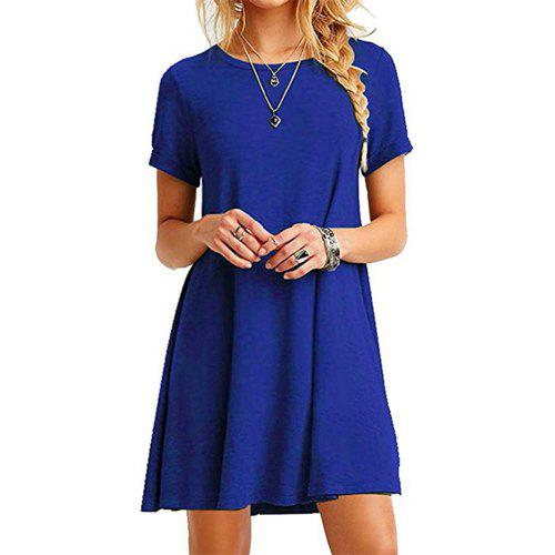 e009c1e0f67e Casual Tshirt Dress Women Summer Plain Loose Short Sleeves Midi Dresses  Vestidos