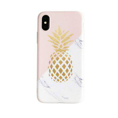 Flexible Soft Slim Fit Case with Marble and Pineapple Pattern for iphoneX