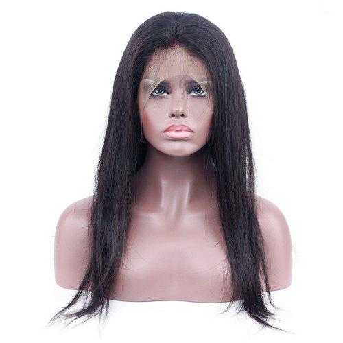 2aadacce1 Long Straight Free Part Human Hair Lace Front Wig Natural Black Color
