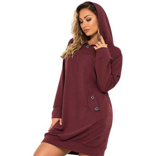 Women Plus Size Hooded Dress Sweatshirt Big Casual Dresses With Pockets  Roupas -  23.85 Free Shipping 12ab5c1fca21