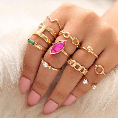 10 PCS/Set Green Red Stone Rings Set for Women Gold Wave Crystal Knuckle Rings