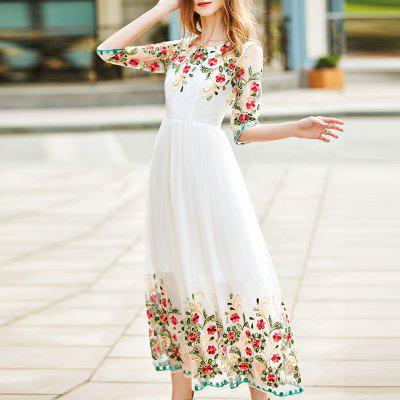 A Fashionable Round Collar Embroidered Dress