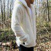 New Man Fashion Full Sleeve with Hooded Faux Fur Warm Solid Casual Cardigan Coat - WHITE