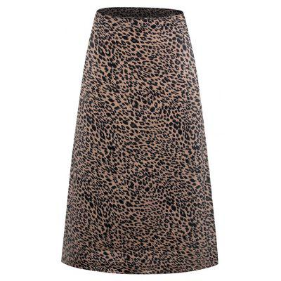 Women High Waist Leopard A Line Slim Long Skirt