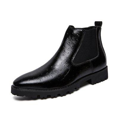 Men'S Fashion High-Top Embossed Leather Boots