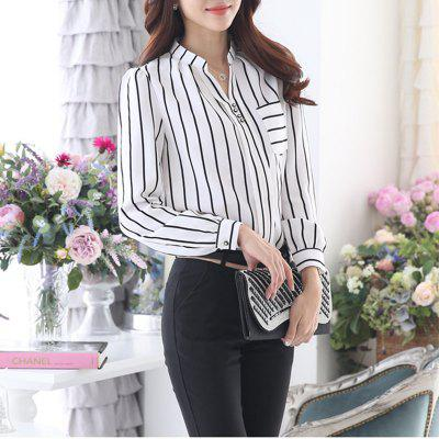 Women's V Neck Wild Striped Slim Plus Size Puff Sleeve OL Chiffon Shirt