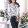 Women's V Neck Wild Striped Slim Plus Size Puff Sleeve OL Chiffon Shirt - WHITE
