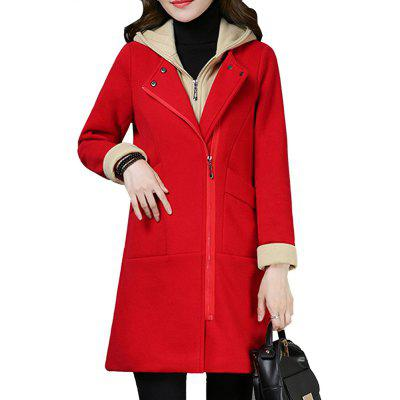 Women'S Quilted Coat Hooded Zipper Pachwork Layer Look Outerwear
