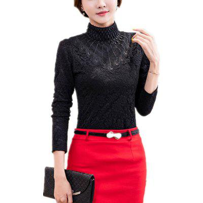 Women's Long Sleeve with High Collar Lace Priming Shirt