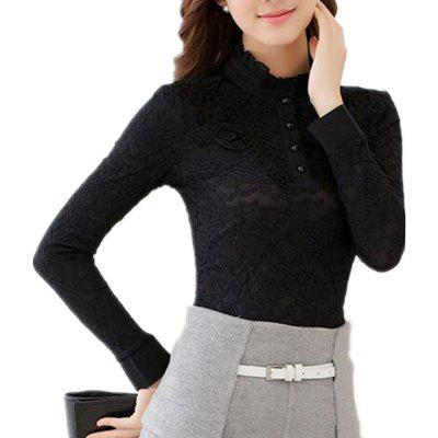 High - Necked Long - Sleeved Lace Shirt Women Thickened Warm Jacket