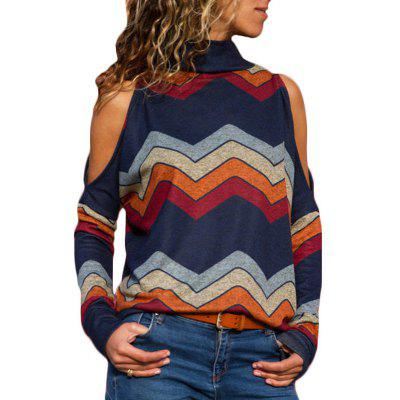 Women Sexy Cold Shoulder Tops Printed Long Sleeve Shirt