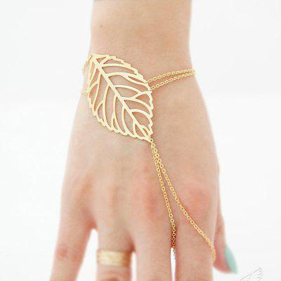 European Style Fashion Simple Leaf Bracelet with Ring