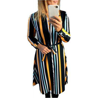 Womens Turndown Collar Button Up  Colorful Striped Midi Shirt Dress with Pocket