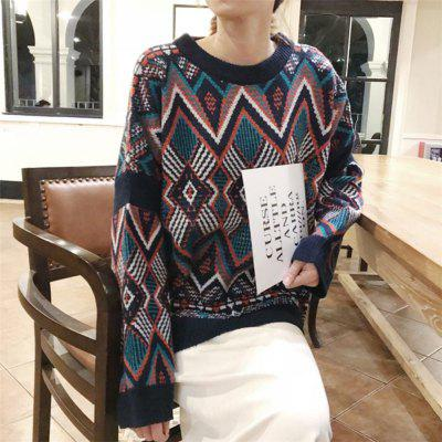 Womans Flower Warm Print Knitted Wool Round Neck Causal Sweater