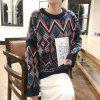 Womans Flower Warm Print Knitted Wool Round Neck Causal Sweater - BLUE